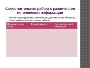 Самостоятельная работа с различными источниками информации Учебник, видеофраг