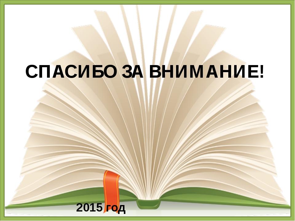 СПАСИБО ЗА ВНИМАНИЕ! 2015 год