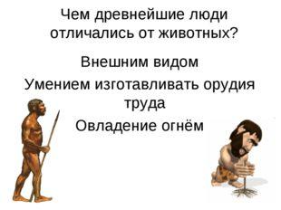 Чем древнейшие люди отличались от животных? Внешним видом Умением изготавлива