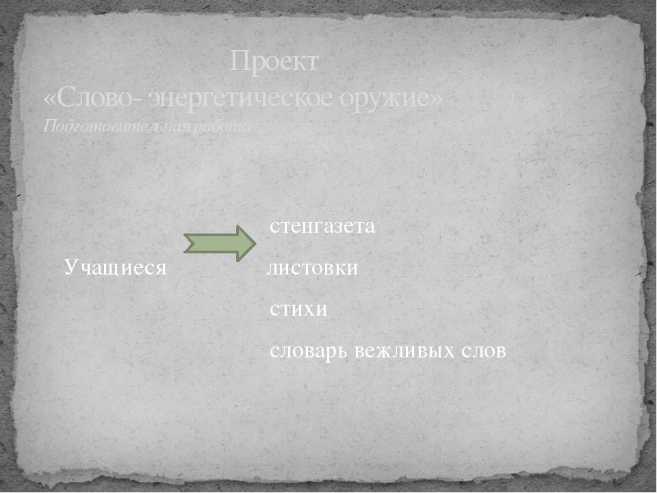 стенгазета Учащиеся листовки стихи словарь вежливых слов Проект «Слово- энер...