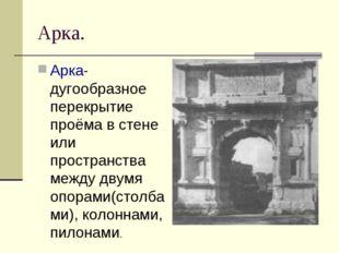 Арка. Арка- дугообразное перекрытие проёма в стене или пространства между дву