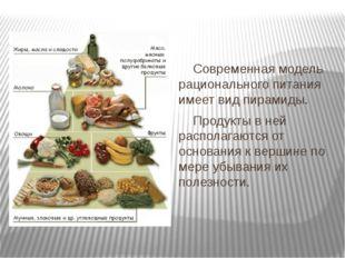 Современная модель рационального питания имеет вид пирамиды. Продукты в ней