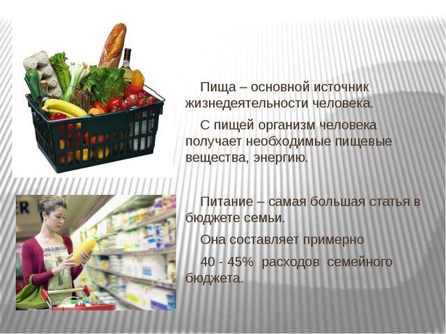 Пища – основной источник жизнедеятельности человека. С пищей организм челов...