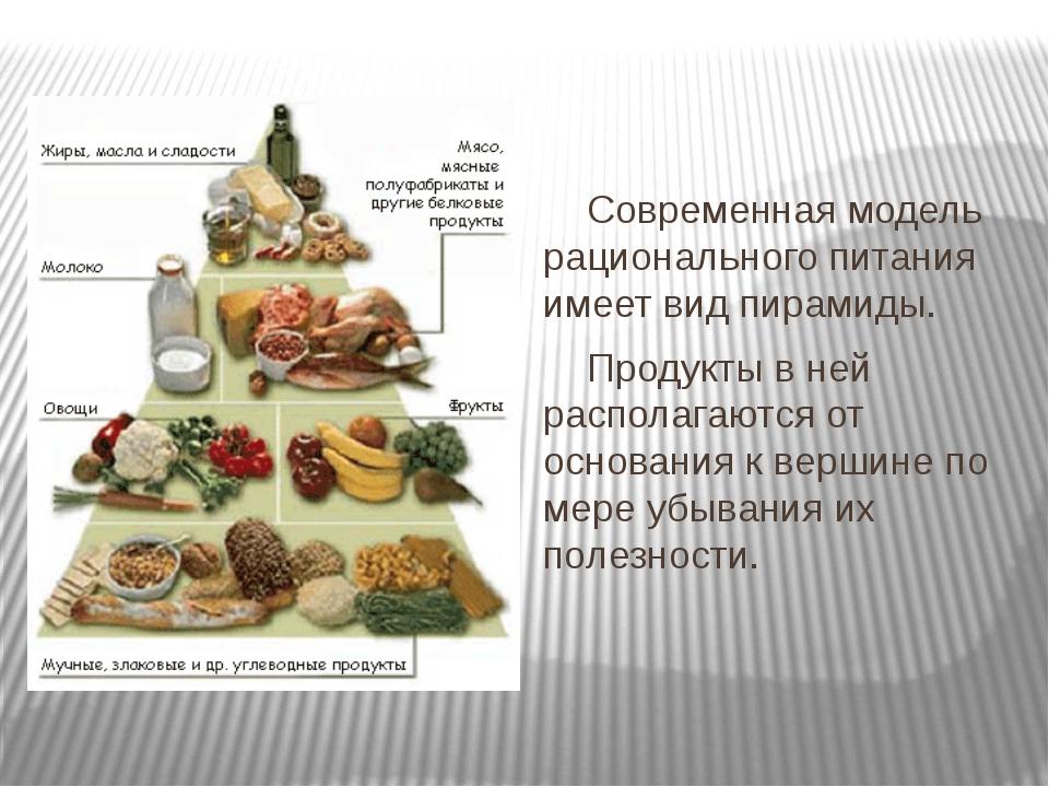 Современная модель рационального питания имеет вид пирамиды. Продукты в ней...