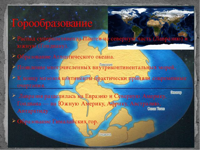 Распад суперконтинента Пангеи на северную часть (Лавразию) и южную (Гондвану)...
