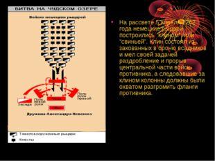 """На рассвете 5 апреля 1242 года немецкие рыцари построились """"клином"""", или """"сви"""