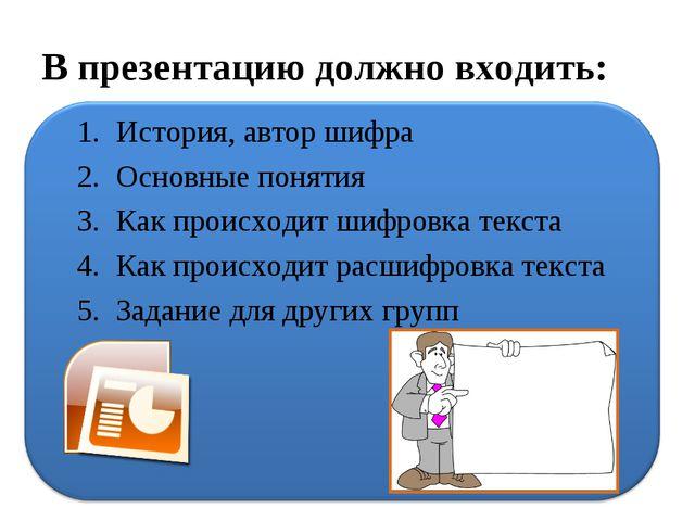 В презентацию должно входить: История, автор шифра Основные понятия Как проис...
