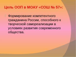 Цель ООП в МОАУ «СОШ № 57»: Формирование компетентного гражданина России, спо