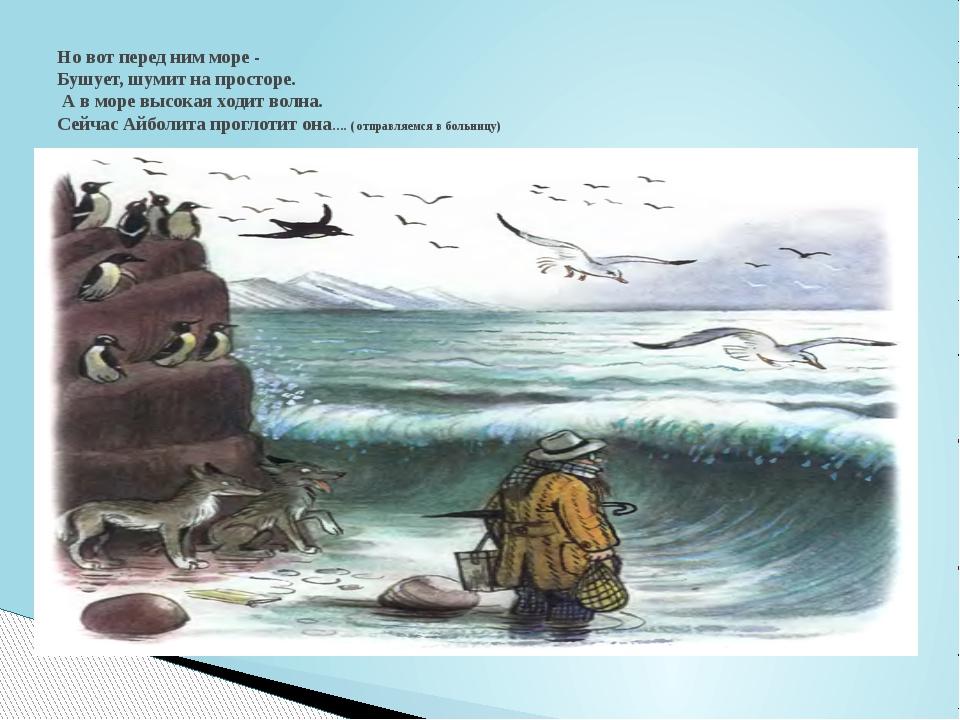 Но вот перед ним море - Бушует, шумит на просторе. А в море высокая ходит во...