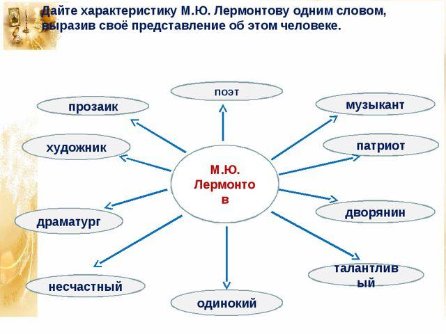 М.Ю. Лермонтов поэт патриот драматург дворянин несчастный талантливый прозаик...