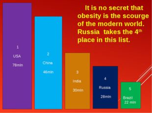 It is no secret that obesity is the scourge of the modern world. Russia take