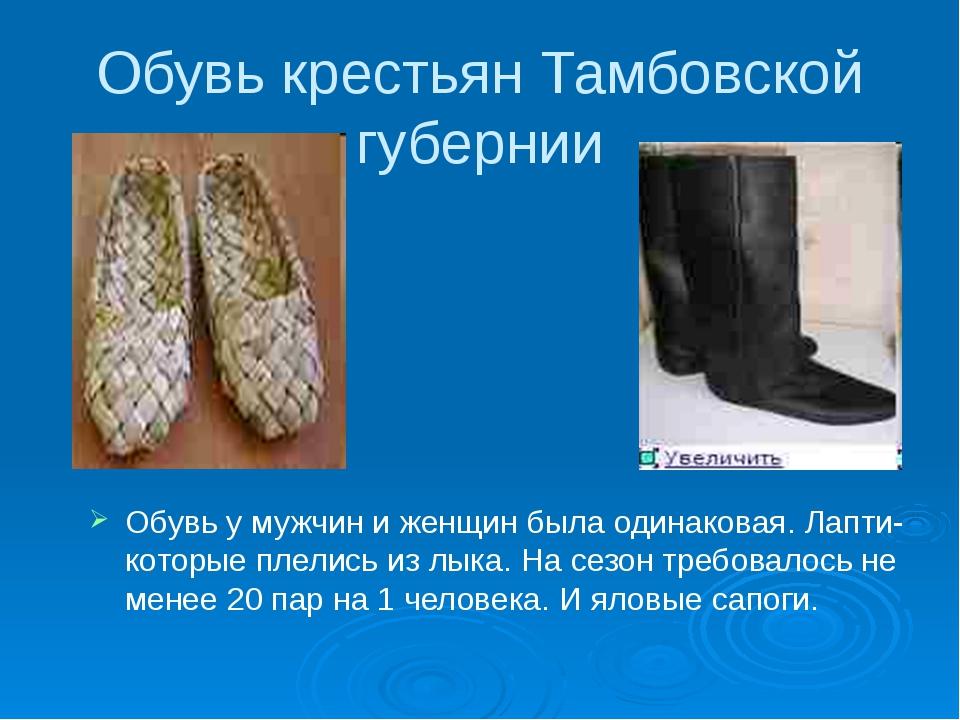 Обувь крестьян Тамбовской губернии Обувь у мужчин и женщин была одинаковая....