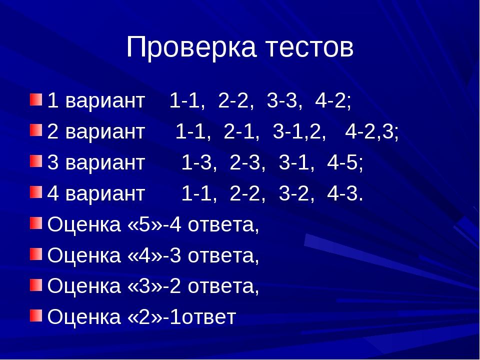 Проверка тестов 1 вариант 1-1, 2-2, 3-3, 4-2; 2 вариант 1-1, 2-1, 3-1,2, 4-2,...