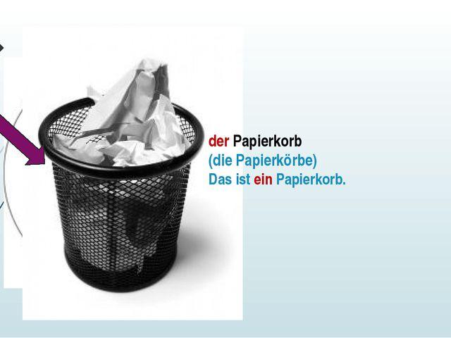 der Papierkorb (die Papierkörbe) Das ist ein Papierkorb.