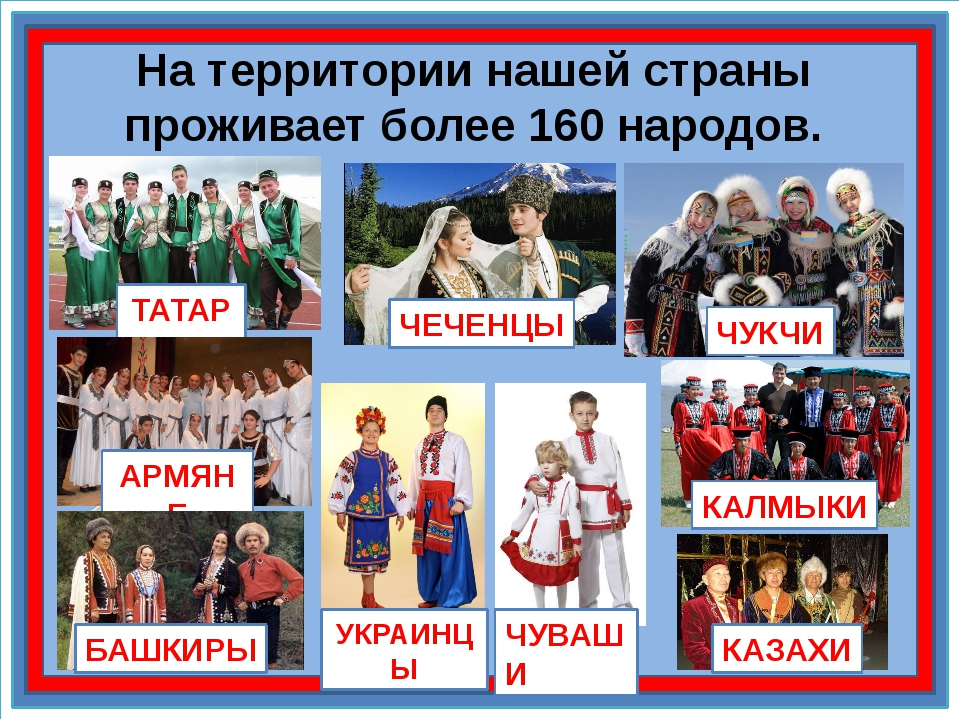 На территории нашей страны проживает более 160 народов. ТАТАРЫ АРМЯНЕ ЧЕЧЕНЦЫ...