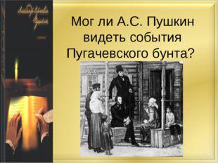 Мог ли А.С. Пушкин видеть события Пугачевского бунта?