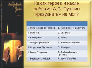 Каких героев и какие события А.С. Пушкин «разузнать» не мог?  1. Пугачевское
