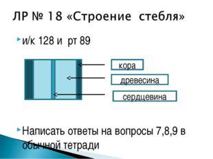 и/к 128 и рт 89 Написать ответы на вопросы 7,8,9 в обычной тетради кора древе