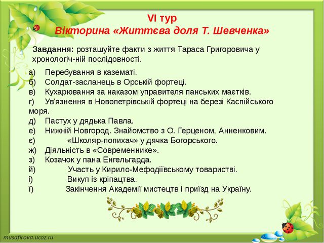VI тур Вікторина «Життєва доля Т. Шевченка» а)Перебування в казематі. б)Сол...