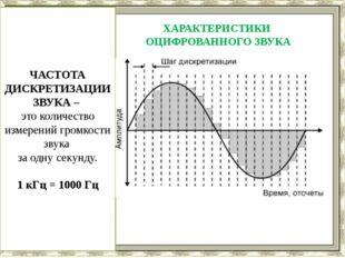 ЧАСТОТА ДИСКРЕТИЗАЦИИ ЗВУКА – это количество измерений громкости звука за одн