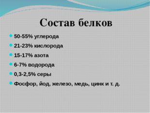 50-55% углерода 21-23% кислорода 15-17% азота 6-7% водорода 0,3-2,5% серы Фо