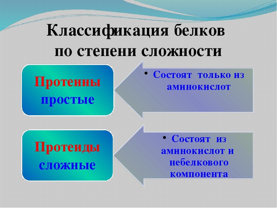 Классификация белков по степени сложности