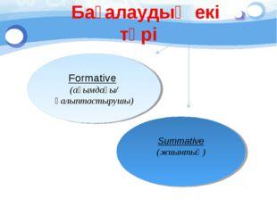 Бағалаудың екі түрі Formative (ағымдағы/ қалыптастырушы) Summative (жиынтық)