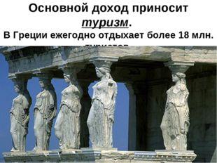 Основной доход приносит туризм. В Греции ежегодно отдыхает более 18 млн. тур