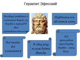 Гераклит Эфесский Первоначалом является огонь Всеобщее развитие и изменение в