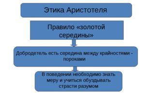 Этика Аристотеля Правило «золотой середины» Добродетель есть середина между к