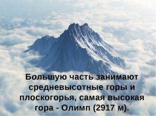Большую часть занимают средневысотные горы и плоскогорья, самая высокая гора