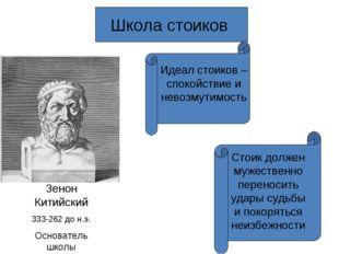 Школа стоиков Зенон Китийский 333-262 до н.э. Основатель школы Идеал стоиков
