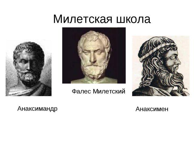 Милетская школа Фалес Милетский Анаксимандр Анаксимен