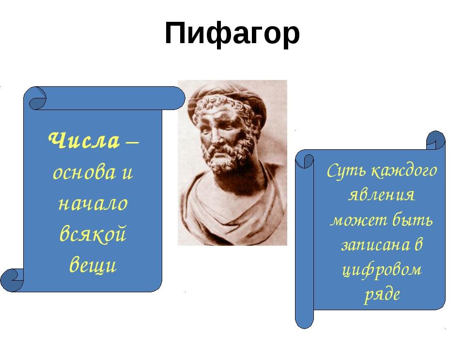Пифагор Числа – основа и начало всякой вещи Суть каждого явления может быть з...