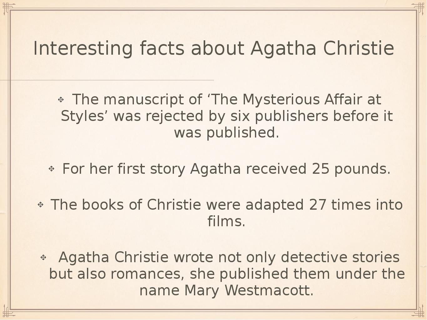 Interesting facts about Agatha Christie The manuscript of 'The Mysterious Aff...