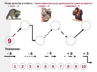 9 Указание: - 8 - 6 - 5 + 9 + 3 Реши цепочку и ответь: - Какое животное носит