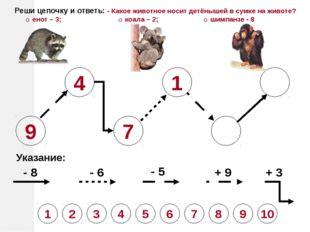 9 4 7 1 Указание: - 8 - 6 - 5 + 9 + 3 Реши цепочку и ответь: - Какое животное