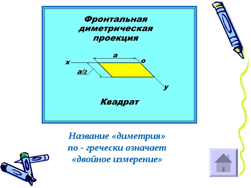 Название «диметрия» по - гречески означает «двойное измерение»