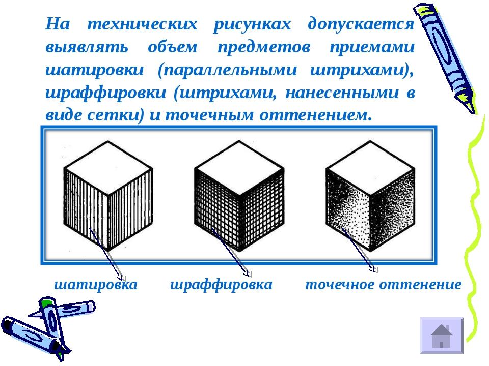 На технических рисунках допускается выявлять объем предметов приемами шатиров...