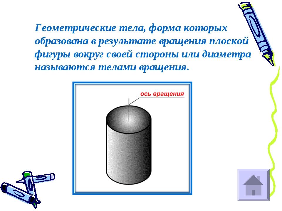 Геометрические тела, форма которых образована в результате вращения плоской...