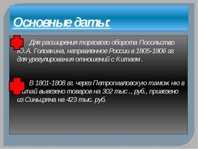Основные даты: Для расширения торгового оборота Посольство Ю.А. Головкина, на...