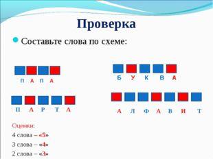 Проверка Составьте слова по схеме: Оценки: 4 слова – «5» 3 слова – «4» 2 слов