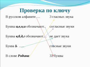 Проверка по ключу В русском алфавите….3 гласных звука Буквы а,е,о,и обознача