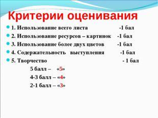 Критерии оценивания 1. Использование всего листа -1 бал 2. Использование ресу