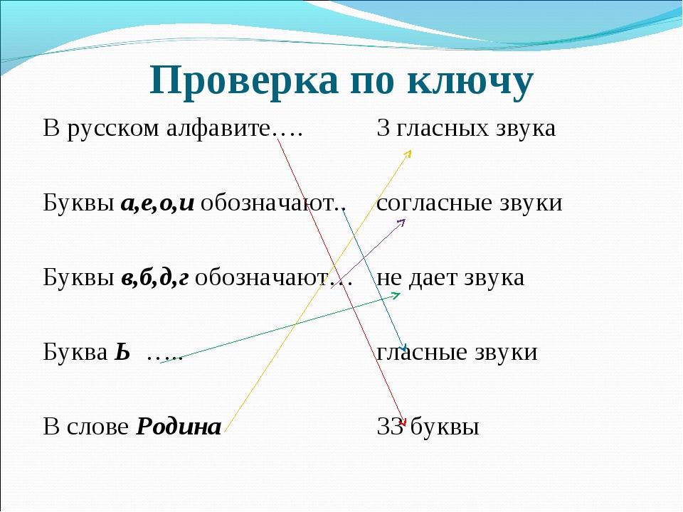 Проверка по ключу В русском алфавите….3 гласных звука Буквы а,е,о,и обознача...