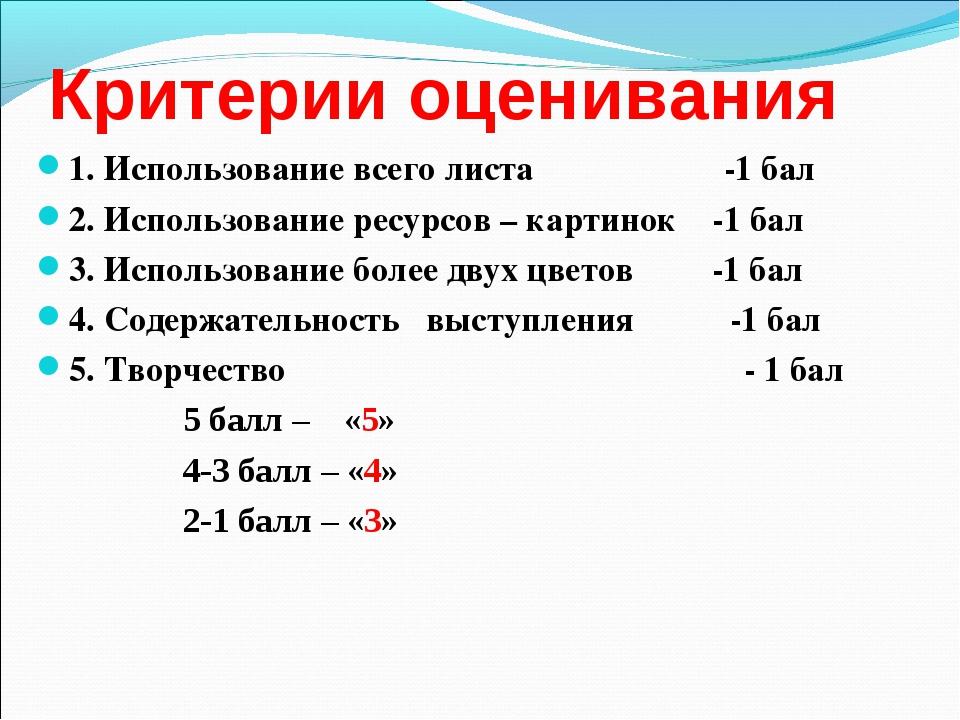 Критерии оценивания 1. Использование всего листа -1 бал 2. Использование ресу...