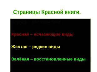 Чёрная – уже вымерли Красная – исчезающие виды Жёлтая – редкие виды Зелёная –