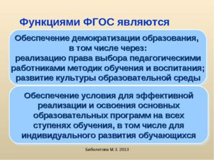Биболетова М.З. 2013 Функциями ФГОС являются Обеспечение демократизации образ