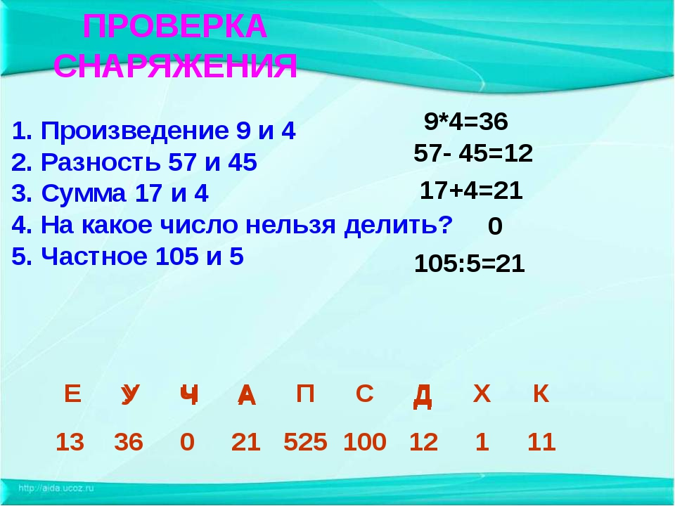 А ПРОВЕРКА СНАРЯЖЕНИЯ 1. Произведение 9 и 4 2. Разность 57 и 45 3. Сумма 17 и...