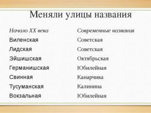 Меняли улицы названия Начало ХХ века Современные названия Виленская Советская